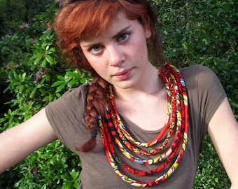 Fabric necklace, african fabric necklace,orange and red  - African wax print,  Bohemian necklace, Tribal necklace, statement necklace,