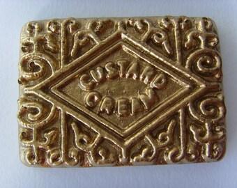 Gold Custard Cream Brooch, Pin, Badge