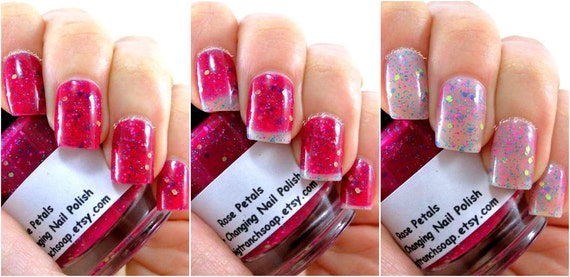 Color Changing Nail Polish- Glitter - Mood Nail Polish - Rose Petals - FREE  U.S. SHIPPING - Nail Polish/Lacquer - 0.5 oz Full Sized Bottle from ... - Color Changing Nail Polish- Glitter - Mood Nail Polish - Rose Petals