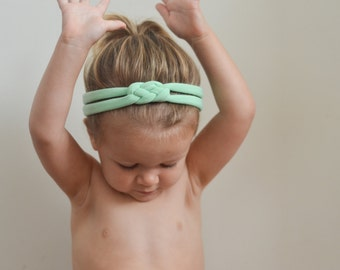 Mint Green Knot Headband - Soft Cotton Jersey Knit Sailor Knot Handmade Headband - Great for Baby, Infant, Toddler, or Child!
