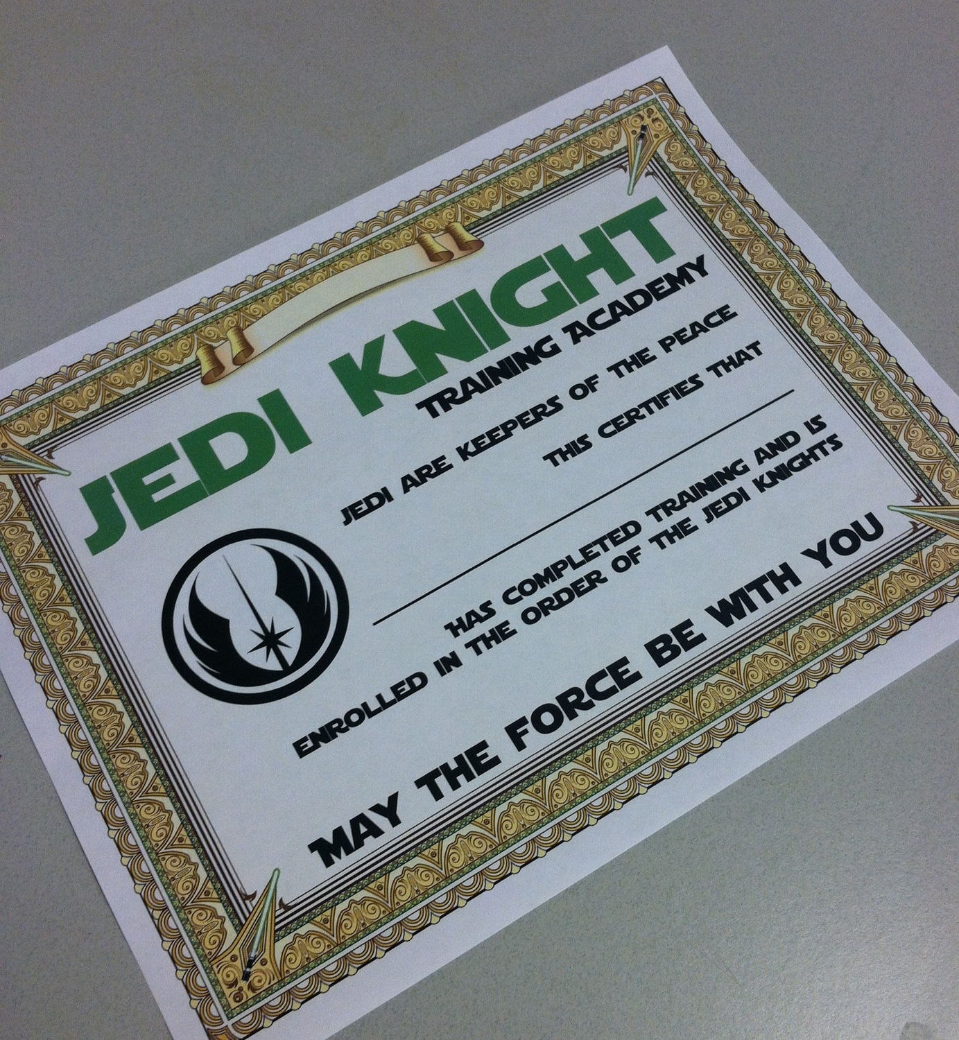 Star wars certificate party printable training academy zoom yadclub Gallery