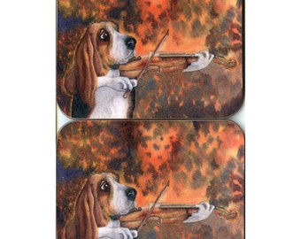 2 x coasters - Basset Hound dog - his solos brought tears to the eyes