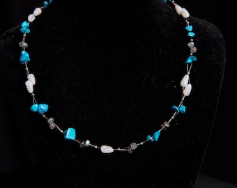 """Turquoise and Moonstone Necklace """"Blue Sky"""""""