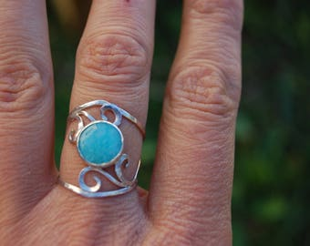 Sterling Silver with amazonite set and spirals ring