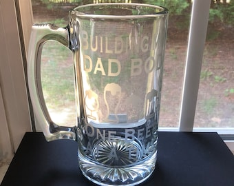 Dad Bod Glass Etched Beer Stein