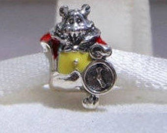 Disneys Alice In Wonderland, WHITE RABBIT CHARM / New / Threaded / Sterling Silver s925 / Fully Stamped