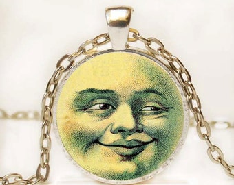 Smiling Sun Art Pendant Necklace Resin Necklace Resin Charm Photo Necklace Vintage