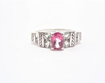 Vintage Sterling Pink Topaz Ring 925 Silver Size 7