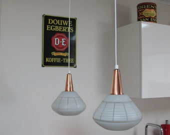 50's Philips Glass Cuper Pendant Set Louis Kalff