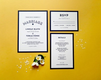 Digital Wedding Invitation Set with RSVP – Art Deco, Vintage Inspired, DIY Wedding, Printable Files – Lindsay & Tobias