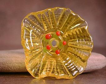 Lampwork Flower Bead, Glass Flower Focal Bead in Transparent Yellow, Sculptural Flower, Divine Spark Designs, SRA