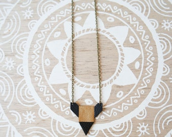 "This boho necklace ""Nayan"" reversible leather and Cork"