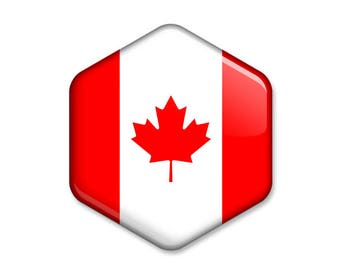 Flag of Canada Hexagonal Magnet // The Maple Leaf Flag of Canada Souvenir // Statement Gift Idea Glossy Six-sided Fridge Magnet