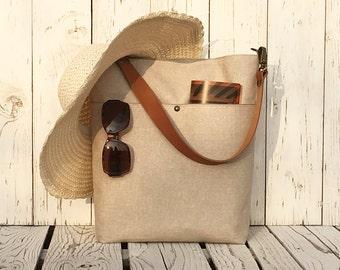 Linen Diaper Bag, Natural Shoulder bag, Beige Nappy Bag, Everyday Bag, Unique Gift for Women, Baby Changing Bag, Gift for Pregnant Mom