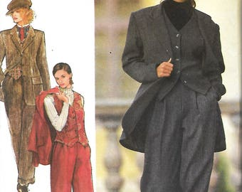 Style 2499 Misses Jacket, Waistcoat Vest And Cuffed Trousers Sewing Pattern, Size 8-18, UNCUT