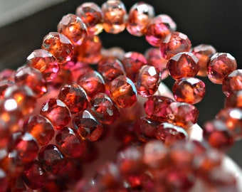 Rose Water - Premium Czech Glass Beads, Translucent Fuchsia, Pale Orange, Picasso Finish, Rondelles 5x3mm - Pc 30