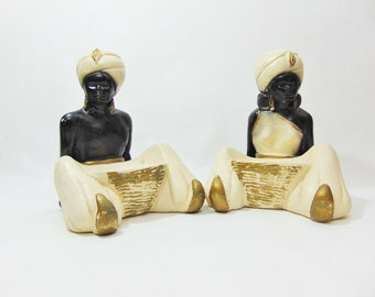 1940s, Incense Holder, Blackamoor, Blackamoor Statues, Blackamoor Figurines, Blackamoor Woman, Arabian, Mid Century, Black and White