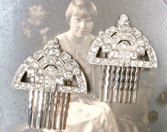 PAIR Original Art Deco 1920s Pave Rhinestone Fan Bridal Headpiece, Antique Dress Clips to Hair Accessories Juliet Veil Wedding Hair Combs