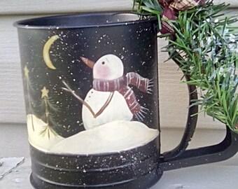 Hand painted Vintage Snowman Flour Sifter
