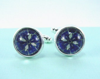 GRANADA Silver Cuff Links -- Blue and white Arabic design cuff links, Geometry cufflinks for him or her
