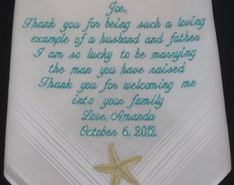 Embroidery 40 words of your choice. Father-in-law's  Personalized Wedding Handkerchief. Free Gift Box With Each One That You Order.