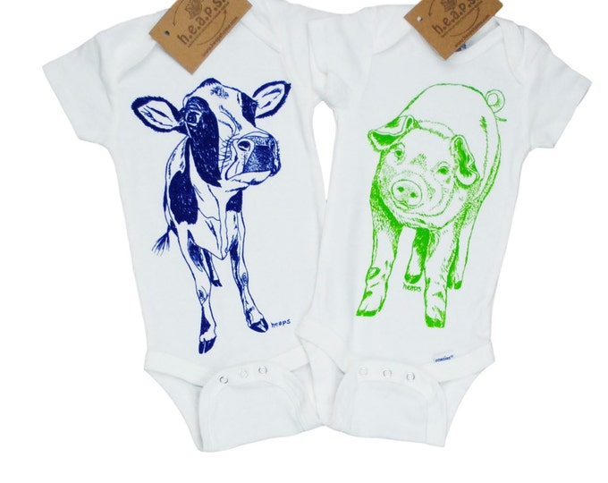 Farm Animal Baby One Piece Set - Blue Cow One Piece - Green Pig One Piece - New Mom Gift - Baby Shower Gift - Twin Gifts - Animal Clothes