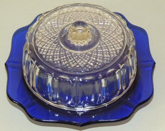 1940s Cobalt Blue and Crystal CHEESE Dish