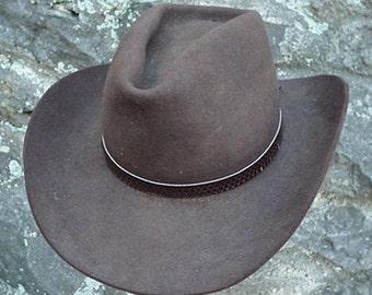 WESTERN HATBAND Hat Band Dark Brown Snake Skin with ties