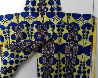 Potter's apron. Split skirt. Split leg. Wide and long. African wax print. Made in Sheffield England.