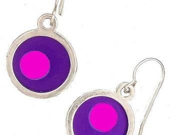 Small Two Tone purple/pink Earrings