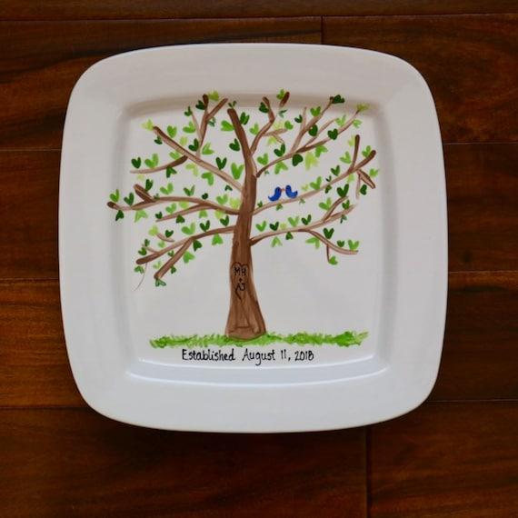 Hand Painted, hand illustrated wedding platter, wedding platter, hand illustrated love bird platter, wedding gift platter, anniversary gift