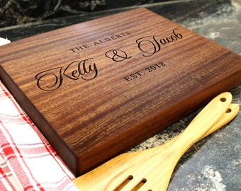 "15x12"" Personalized Chopping Block - Engraved Edge Grain, Custom Butcher Block, Housewarming, Wedding, Engagement, Hostess Gift (039)"