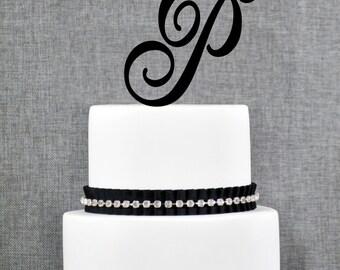 Personalized Monogram Initial Wedding Cake Toppers -Letter P, Custom Monogram Cake Toppers, Unique Cake Toppers, Traditional Initial Toppers