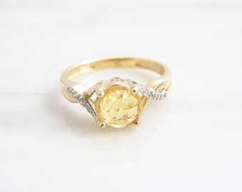 Vintage 1.15ct Natural Rose Cut Yellow Sapphire Diamond Ring 14k Yellow Gold