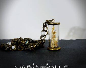 Plant terrarium necklace tube - Herbarium poetic nature flower - fairy jewelry - loblada - pearls - Globe * vial * glass - botanical