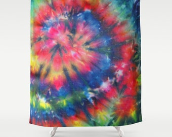 Fabric Shower Curtain-Tie Dye Hippie-Pink Blue-Decorative Shower Curtain-71x74 inches,
