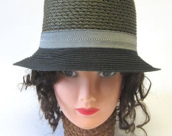 Olive Green Black Cloche Hat Millinery Womens