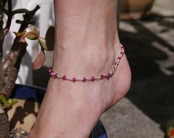 Pink and silver Swarovski Crystal anklet