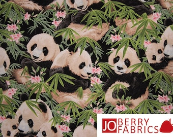Panda Bear Fabric, Pandamania for Elizabeth Studio, Quilt or Craft Fabric, Fabric by the Yard