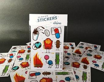 A6 sheet of 8 vinyl stickers