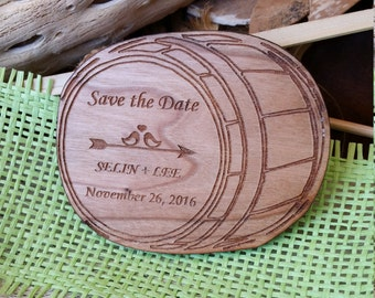 Keg save the date magnet (15)/ barrel save the date wood / wooden save the date magnets / wine wedding magnets / wine save the date / unique