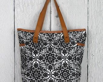 Neon Floral Print Large Shoulder Bag