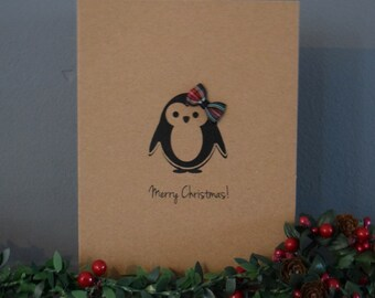 Plaid Penguin Christmas Card - Merry Christmas - Penguin Cards - Holiday Cards - Handmade Card - Personalised Card - Simple Christmas Card