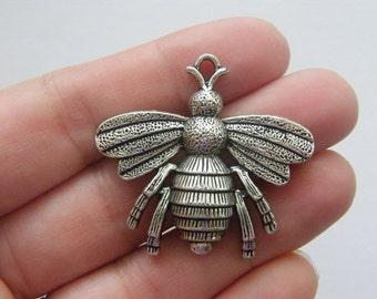 2 Bee pendants antique silver tone A306