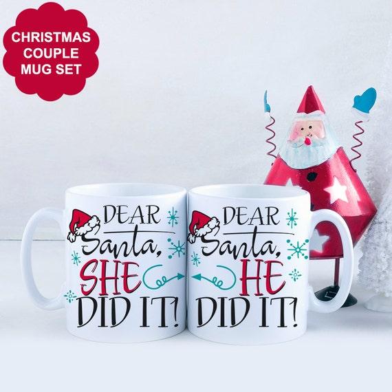 Coffee Mug Set of TWO MUGS. Christmas Couple Santa He Did It She Did it Coffee Cup Set