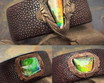 Ammolite, bronze, and leather, adjustable bracelets!
