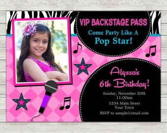 Pop Star Birthday Invitation, Rock Star Party Invitation - Digital File (Printing Services Available)