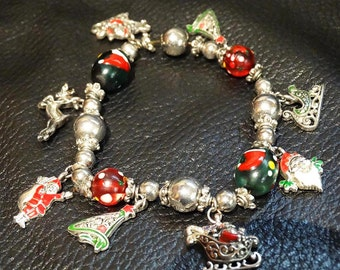 Vintage Charm Bracelet Christmas Theme