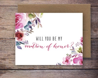 Printable Will You Be My Matron of Honor Card - Instant Download Greeting Card - Will You Be My Bridesmaid - Wedding Card - Lincoln