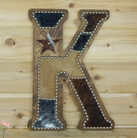 Cowhide Wall Letter K Western Home Decor Wall Hanging